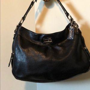 Shimmery black leather COACH shoulder bag